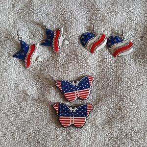 Lot of patriotic earrings